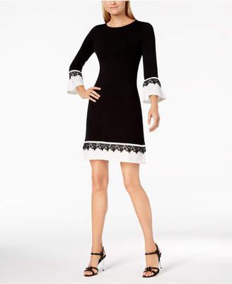 Calvin Klein Contrast Bell-Sleeve Sweater Dress