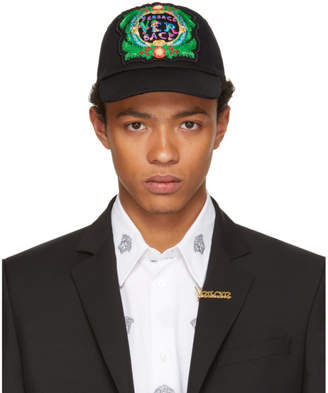 Versace Black Embroidered New Signature Cap