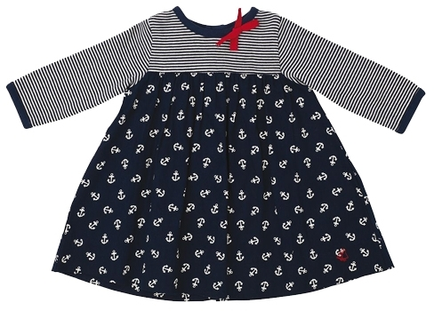Petit Bateau Baby Girl's Chaine Dress - Navy