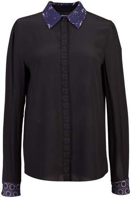 Moschino floral lace trim shirt