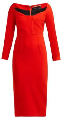 Roland Mouret Ardon Sweetheart Neckline Cady Dress - Womens - Red