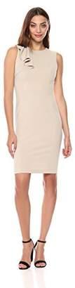 Calvin Klein Women's Solid Sleeveless Sheath with Ruffle Drape Dress