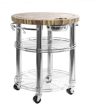Seville Classics Rolling Solid Acacia Butcher Block Top Kitchen Island Cart with Storage, 30 in Diameter x 36 in H