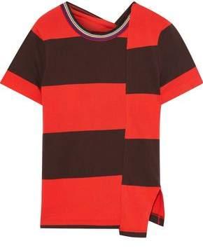 3.1 Phillip Lim Asymmetric Twist-back Striped Stretch-cotton Jersey T-shirt
