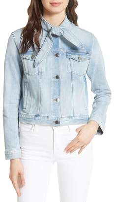 Frame Le Tie Neck Denim Jacket