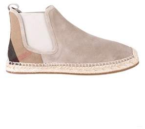 Burberry Women's Beige Canvas Ankle Boots.