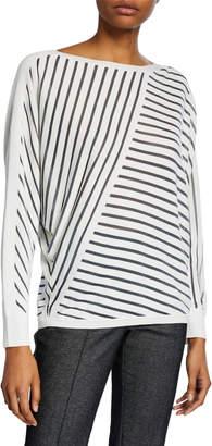 Lafayette 148 New York Directional Striped Dolman-Sleeve Sweater