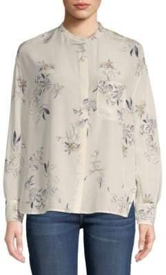 Vince Spaced Floral Silk Button-Down Shirt