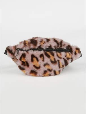 George Leopard Print Faux Fur Bum Bag