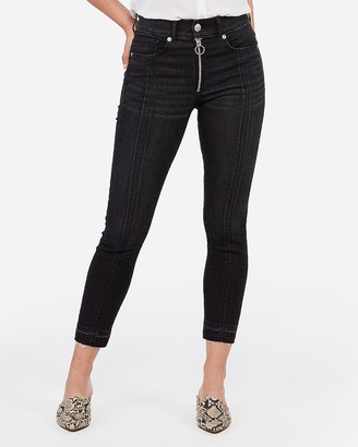 Express High Waisted Black Denim Perfect Cropped Leggings