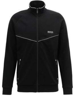 BOSS Hugo Loungewear jacket in cotton-blend pique M Black