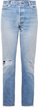 Levi's Zip-embellished Distressed High-rise Straight-leg Jeans - Light blue