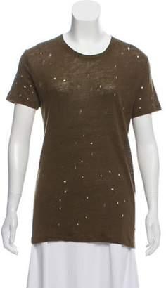 IRO Distressed Linen T-Shirt Olive Distressed Linen T-Shirt