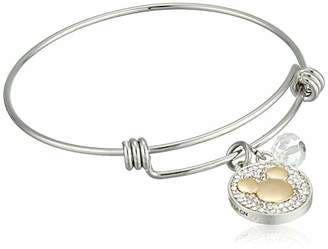 Disney Women's Stainless Steel Catch Bangle Bracelet with Two-Tone Plated Crystal Mickey Never Stop Dreaming Charm