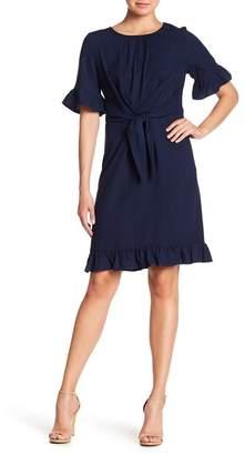 Pleione Ruffle Sleeve Tie Waist Dress