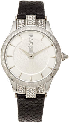 Just Cavalli JC1L004L0015 Animal Chantilly Silver-Tone & Black Watch