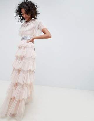 Needle & Thread tiered maxi gown with waistband in rose