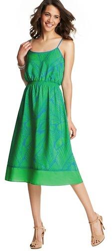 LOFT Petite Vivid Fern Print Tipped Mid Length Dress