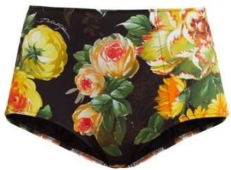 2e4ec01860 Dolce   Gabbana Floral Print High Rise Bikini Briefs - Womens - Black Multi