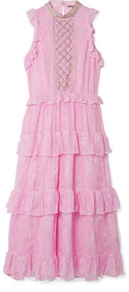 Dodo Bar Or - Ruffled Crystal-embellished Lace Midi Dress - Baby pink