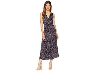 BB Dakota Swish Swish Deep Blue Ditsy Printed Rayon Crepe Maxi Jumpsuit