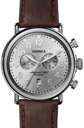 Shinola Men's Runwell Leather Watch, Brown/Silver