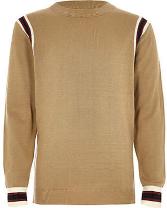 River Island Boys brown striped contrast long sleeve top
