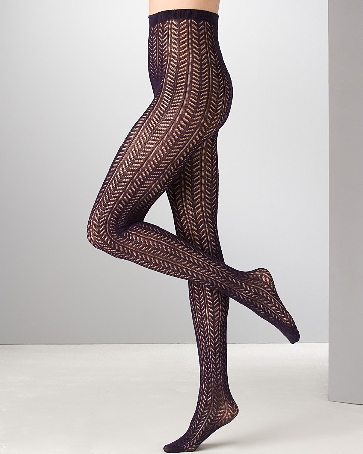 kate spade new york Open Lace Herringbone Tights