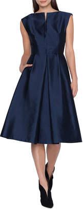 Akris Cap-Sleeve Silk Shantung A-Line Dress