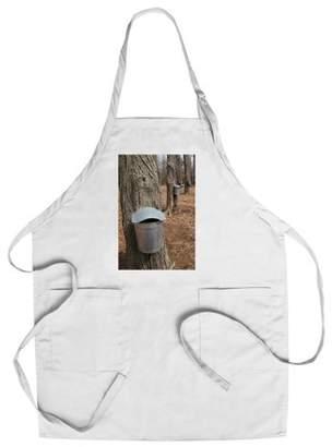 Maple Tree Sap Buckets - Lantern Press Photography (Cotton/Polyester Chef's Apron)