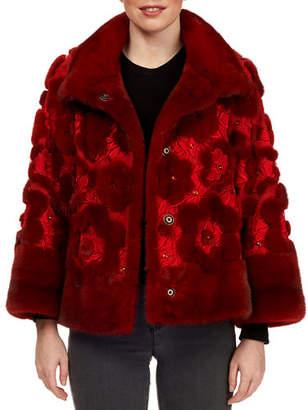 Pajaro Jeweled Floral Mink-Fur Intarsia Suede Jacket