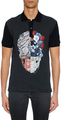 Alexander McQueen Men's Two-Button Skull Graphic Polo Shirt