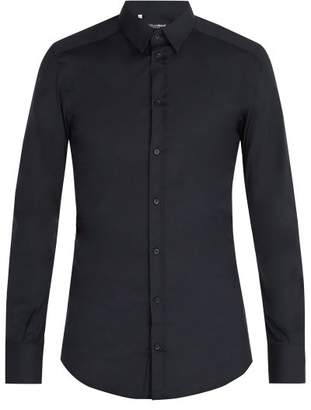 Dolce & Gabbana Johnny Stretch Cotton Shirt - Mens - Navy
