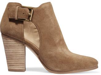 MICHAEL Michael Kors - Adams Cutout Suede Ankle Boots - Camel $185 thestylecure.com