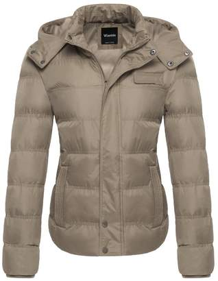Wantdo Women's Windproof Jacket Hoodie Padded Outerwear Coat