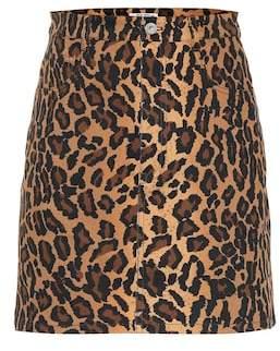 Miu Miu Leopard-printed denim miniskirt