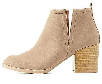 Notched Faux Suede Ankle Booties $38.99 thestylecure.com