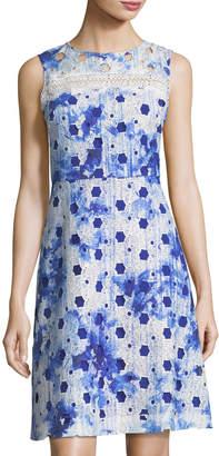 T Tahari Geometric-Lace A-line Dress $135 thestylecure.com