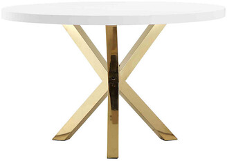 "One Kings Lane Remi 47"" Round Dining Table - White/Gold"