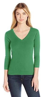 Three Dots Women's Three Quarter Sleeve V Neck Tee