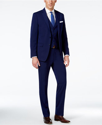 Calvin Klein X-Fit Navy Solid Extra Slim-Fit Vested Suit $695 thestylecure.com