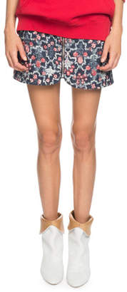 Etoile Isabel Marant Marily Floral Linen Quilted Mini Skirt