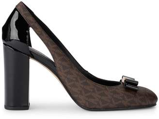 Michael Kors Carson Pump Brown Rubber Fabric And Black Patent Leather Decollete. Side Opening And Black Patent Leather And Golden Bow.