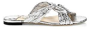Jimmy Choo Women's Lela Metallic Leather Twist Flat Sandals