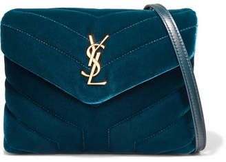 Saint Laurent Loulou Quilted Velvet Shoulder Bag - Teal
