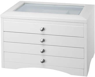 FINE JEWELRY White Glass Top 3-Drawer Jewelry Box