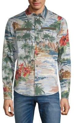 Valentino Tropical-Print Long-Sleeve Shirt