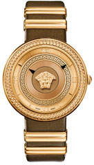 Versace 40mm V-Metal Icon Watch w/ Leather Strap, Gold/Brown