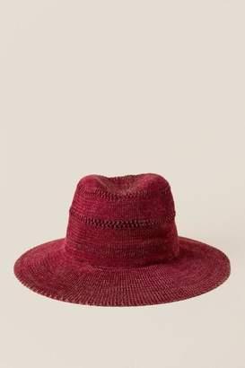 francesca's Madeline Woven Panama Hat - Burgundy