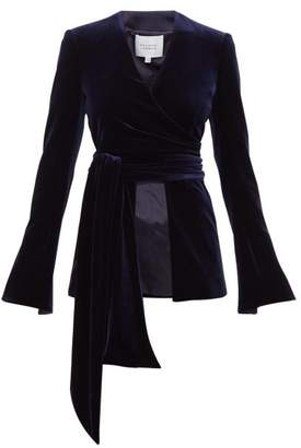 Galvan Winter Sun Tie Waist Velvet Wrap Jacket - Womens - Navy